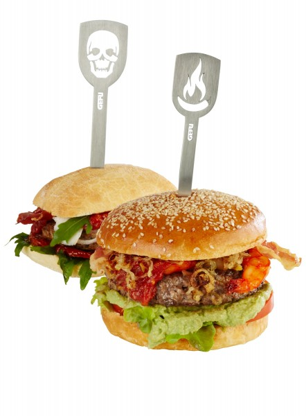 GEFU Hamburger-Spieße TORRO, 2 Stück (Totenkopf/Flamme)