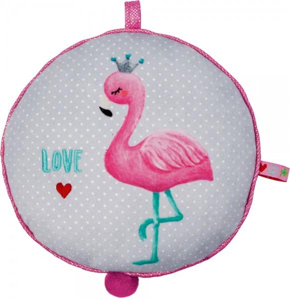 """Babyglück Spieluhr Flamingo mit der Melodie """"make you feel my love"""" von Adele"""