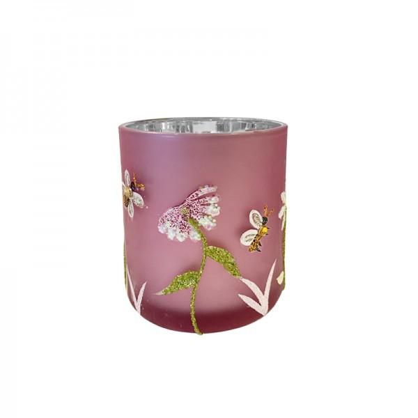 Windlicht mit Glitzermotiven rosa