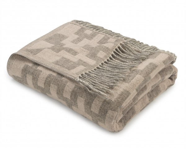 "Plaid/Wolldecke ""Dina"" taupe-rose"
