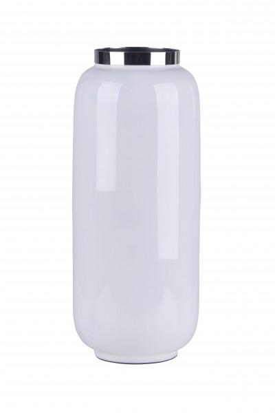 Vase Saigon weiß/silber M