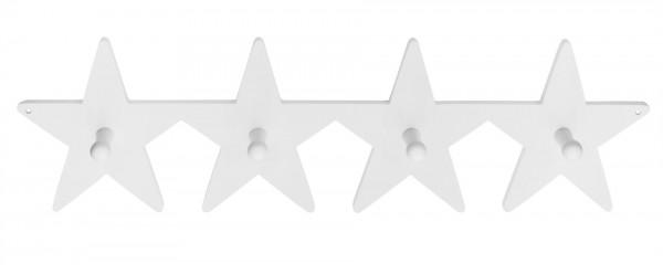 Kleiderhaken 4-fach Stern weiß