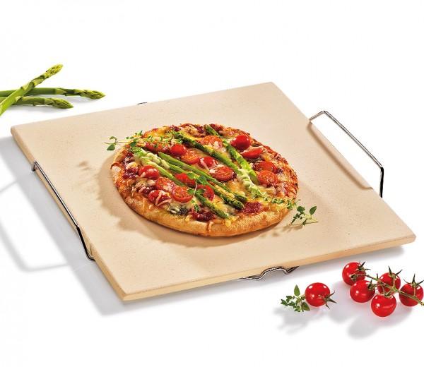 Küchenprofi Pizzastein mit Gestell BBQ 35x38cm