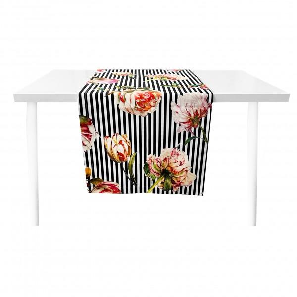 Steen Design Tischläufer S/W Pfingstrosen