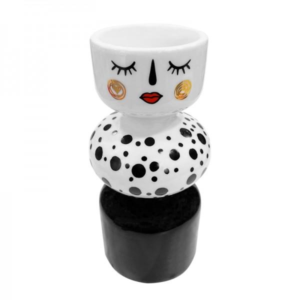 Teelichthalter moderne Figur schwarz/weiss